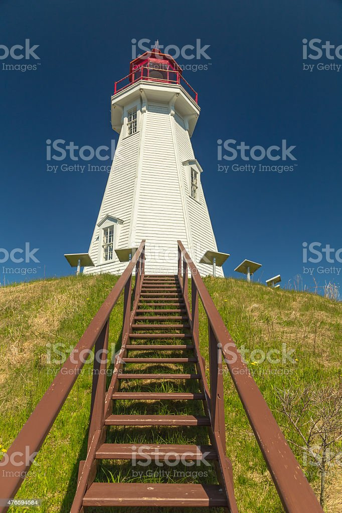 Mulholland Point Lighthouse Campobello stock photo