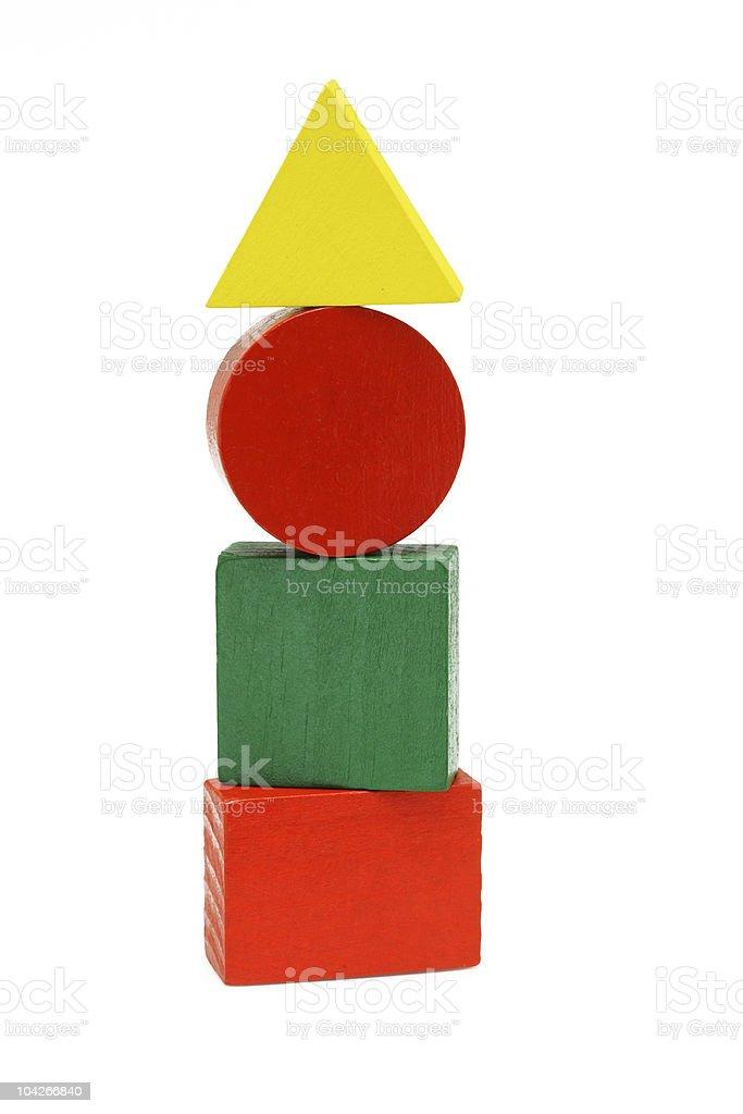 Mulicolor wooden geometic blocks stock photo