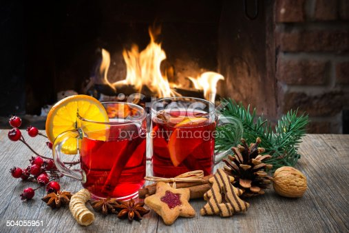 istock Mulled wine at romantic fireplace 504055951