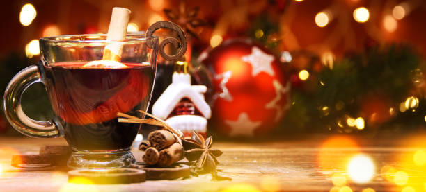 Mulled wine, Christmas eve, New year concept stock photo