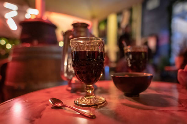 mulled wine glugg in copenhagen, denmark - christmas stock photos and pictures