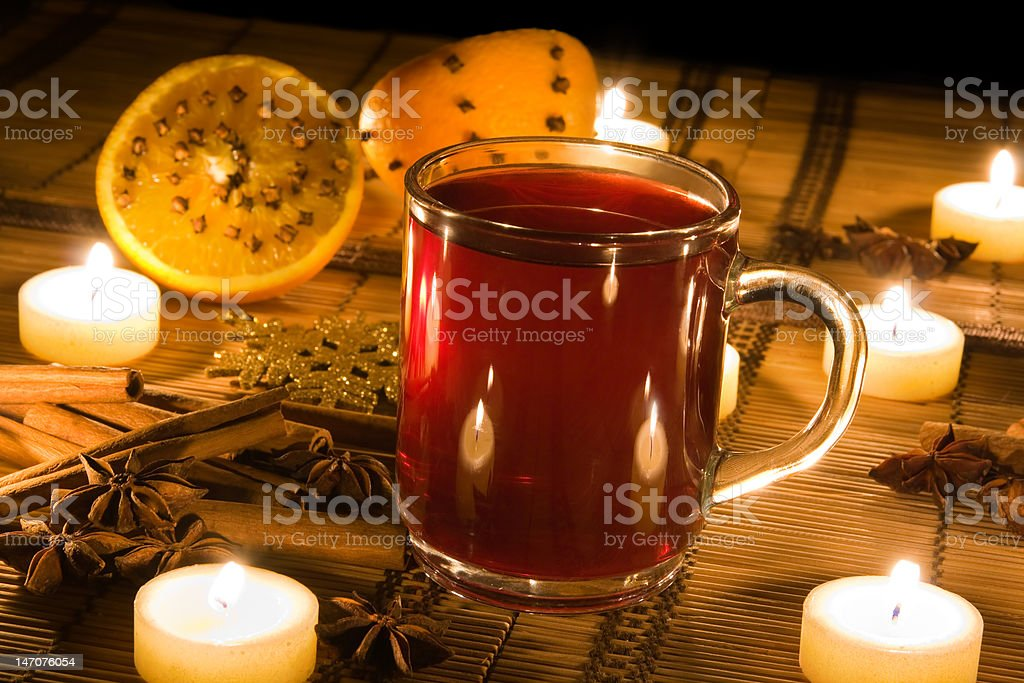 Mulled wine in candle light royalty-free stock photo