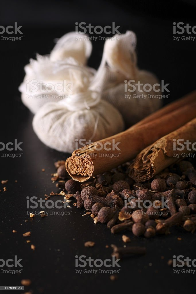 mulled wine ingredients and calico bags. stock photo