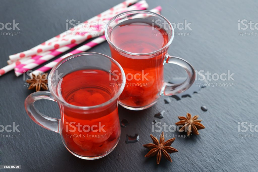Mulled wine with fresh cranberry royalty-free stock photo