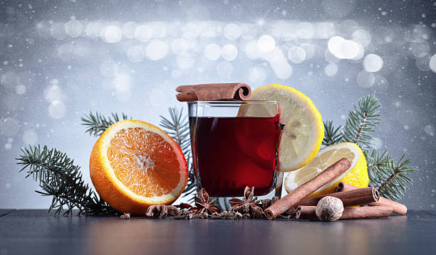 mulled wine with spices - mulled wine stock photos and pictures