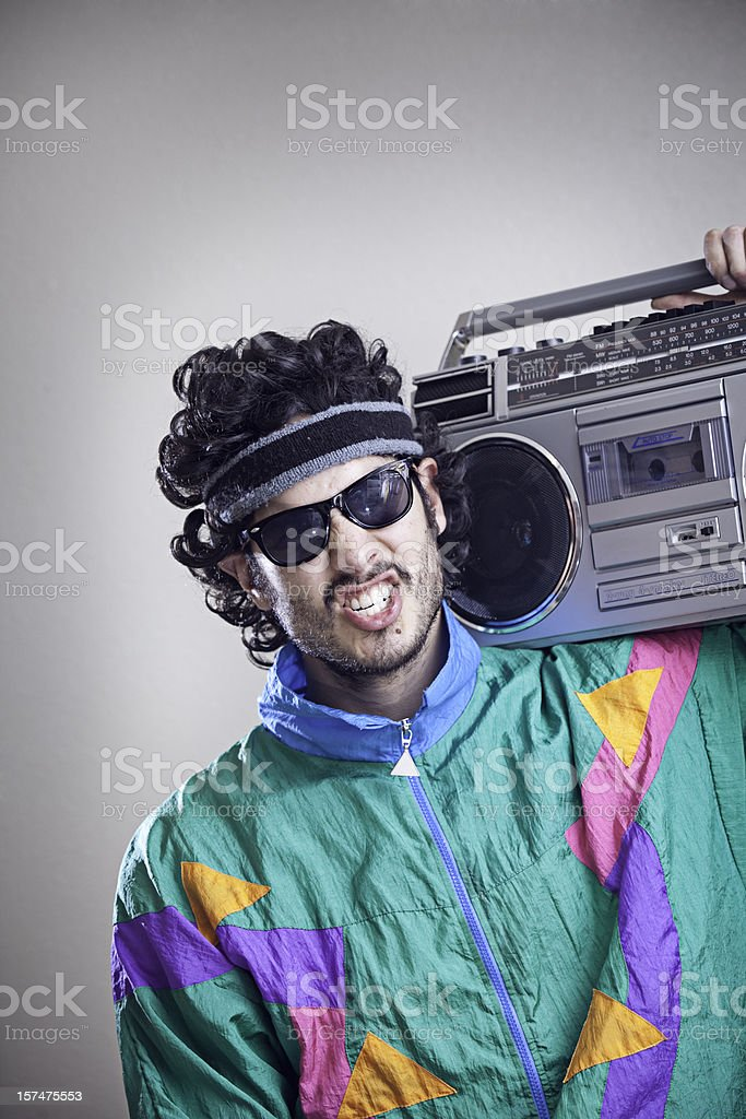 Mullet Man With 1980's-1990's Fashion Style stock photo