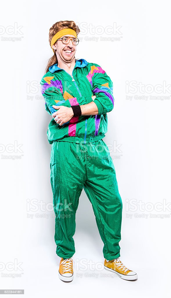 Mullet Man With Eighties Fashion Style royalty-free stock photo