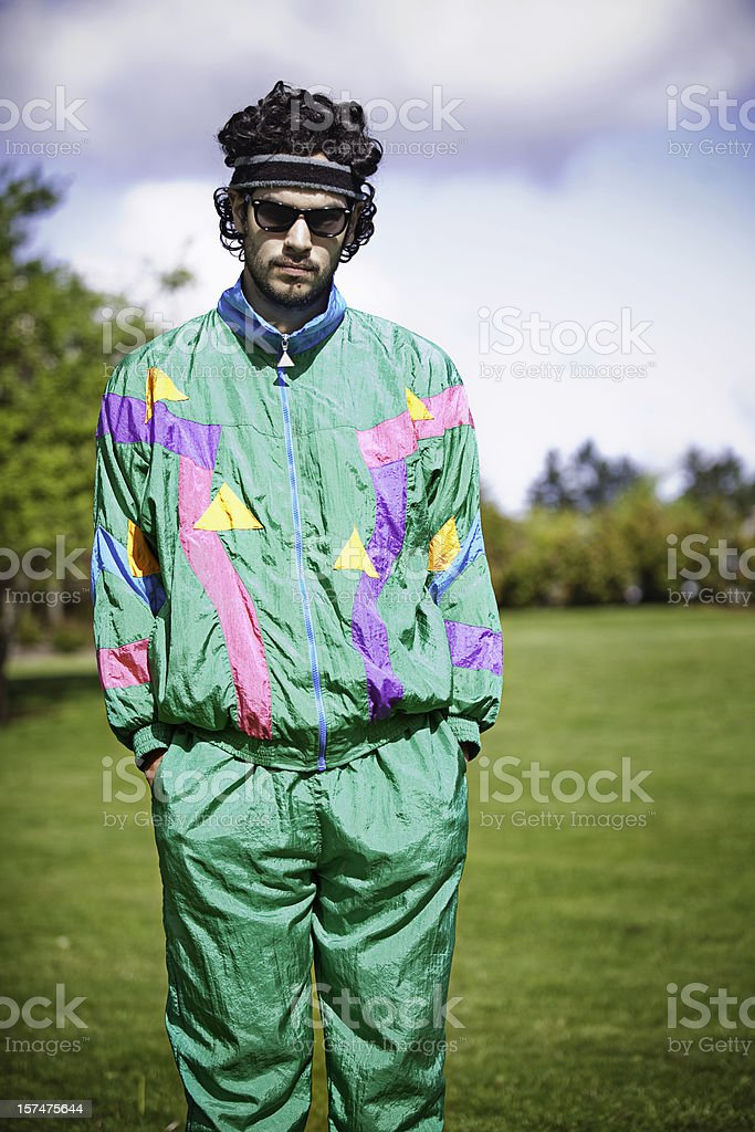 Mullet Runner With 1980's-1990's Fashion Style royalty-free stock photo