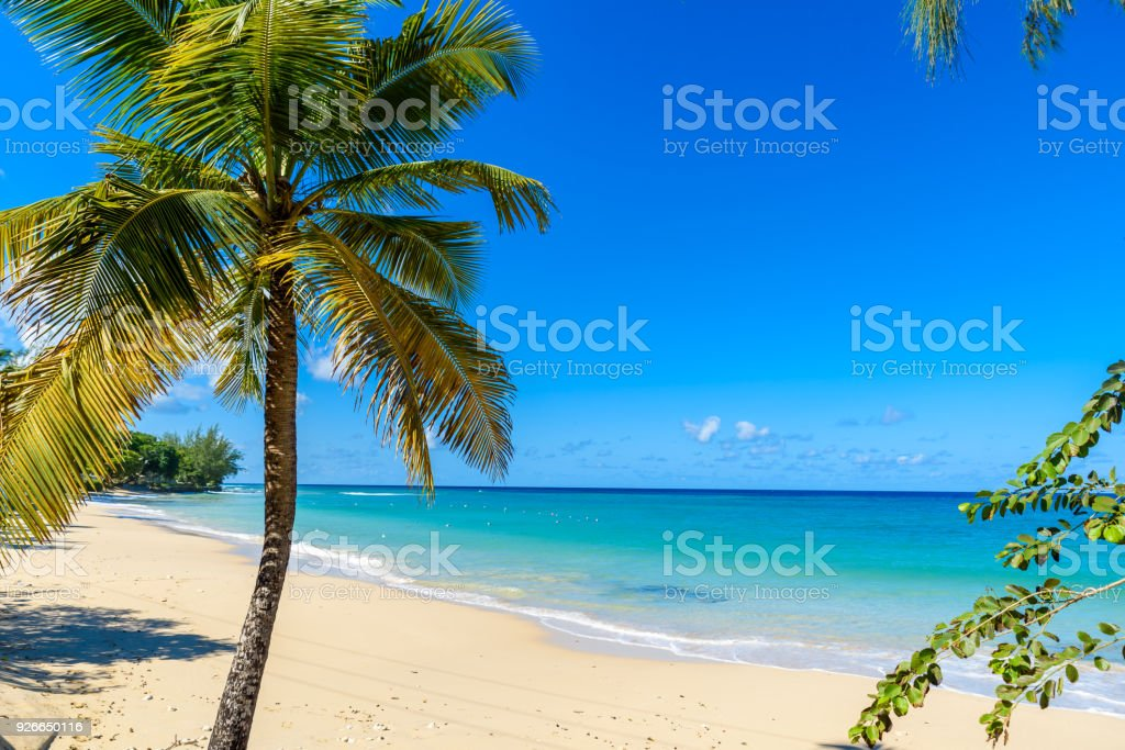 Mullins Beach - tropical beach on the Caribbean island of Barbados. It is a paradise destination with a white sand beach and turquoiuse sea. stock photo