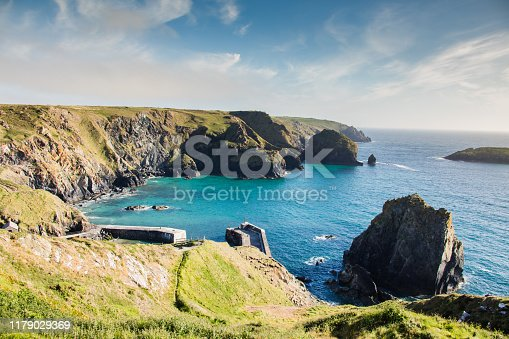 Mullion cove in Cornwall/ England at sunet