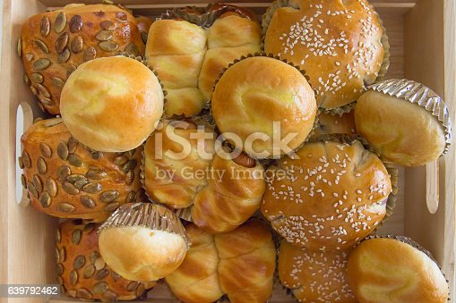 istock Multi bum breads in wooden box 639792462