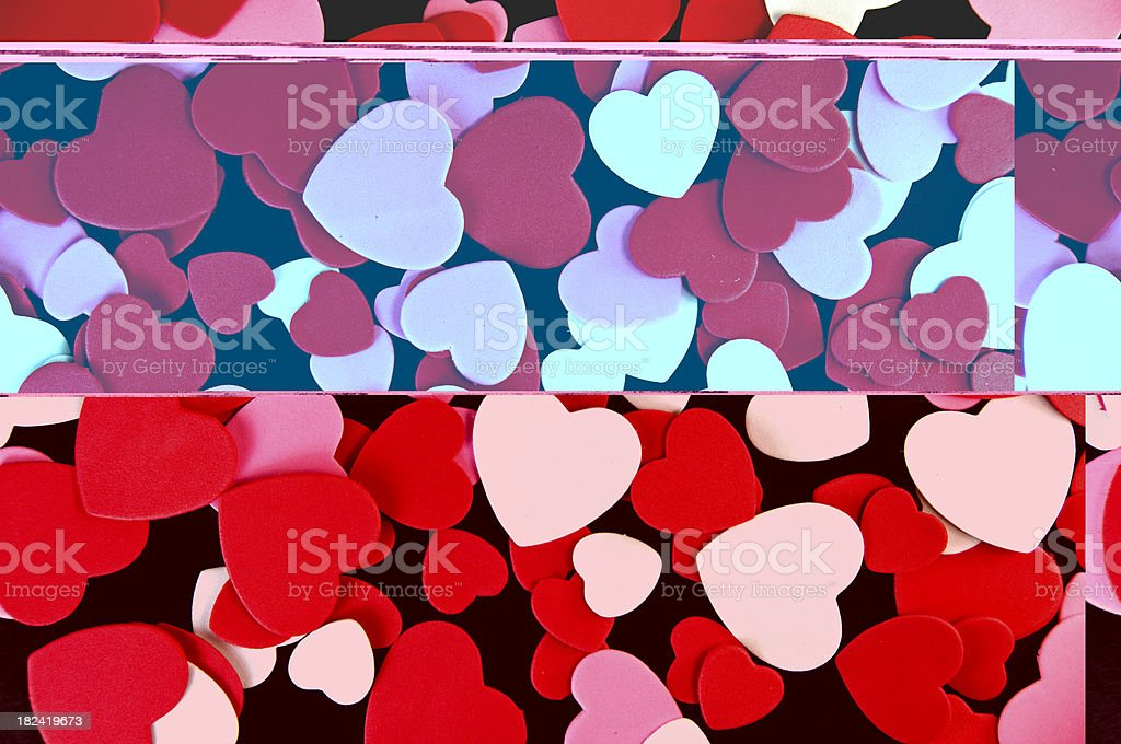 Multi Coloered Hearts on Black royalty-free stock photo