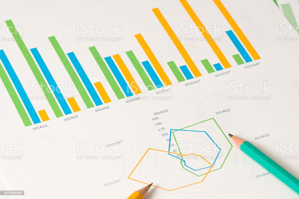 multi color bar and radial charts with pensils stock photo