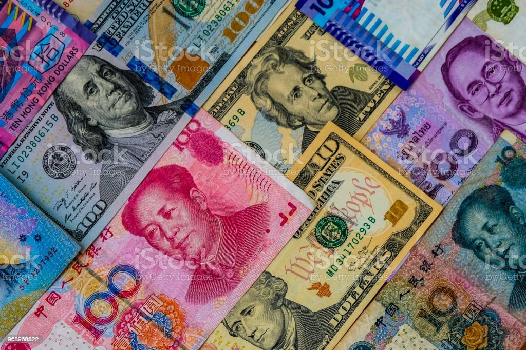Multi color international banknote for exchange currency stock photo