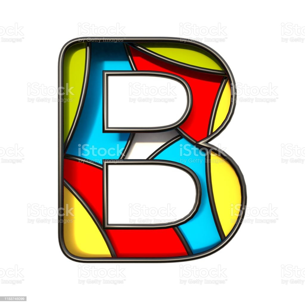 Multi color layers font Letter B 3D rendering illustration isolated...