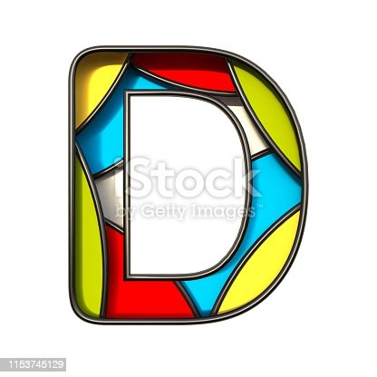 184385936 istock photo Multi color layers font Letter D 3D 1153745129