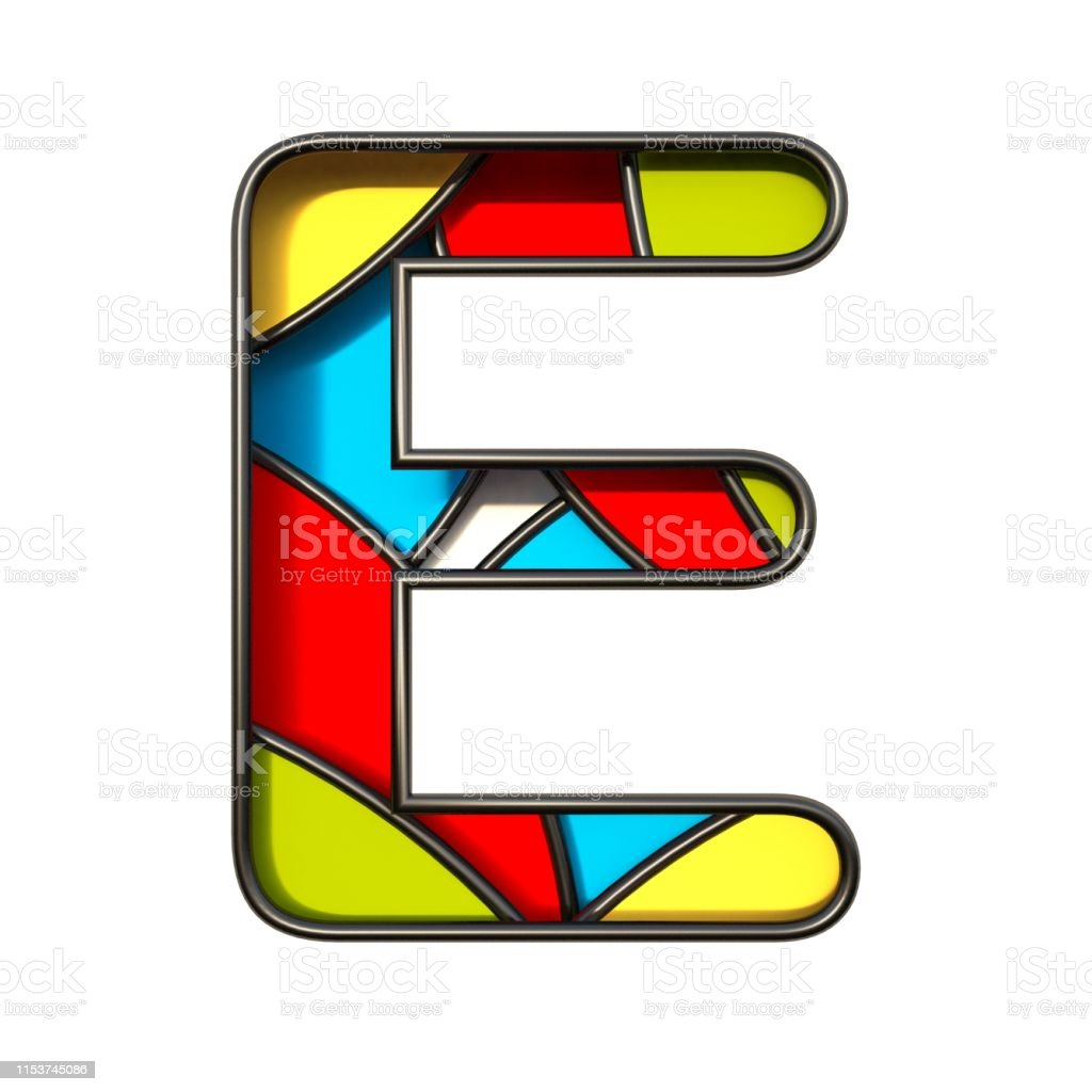 Multi color layers font Letter E 3D rendering illustration isolated...