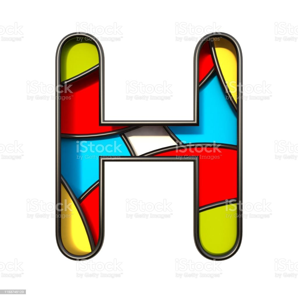 Multi color layers font Letter H 3D rendering illustration isolated...