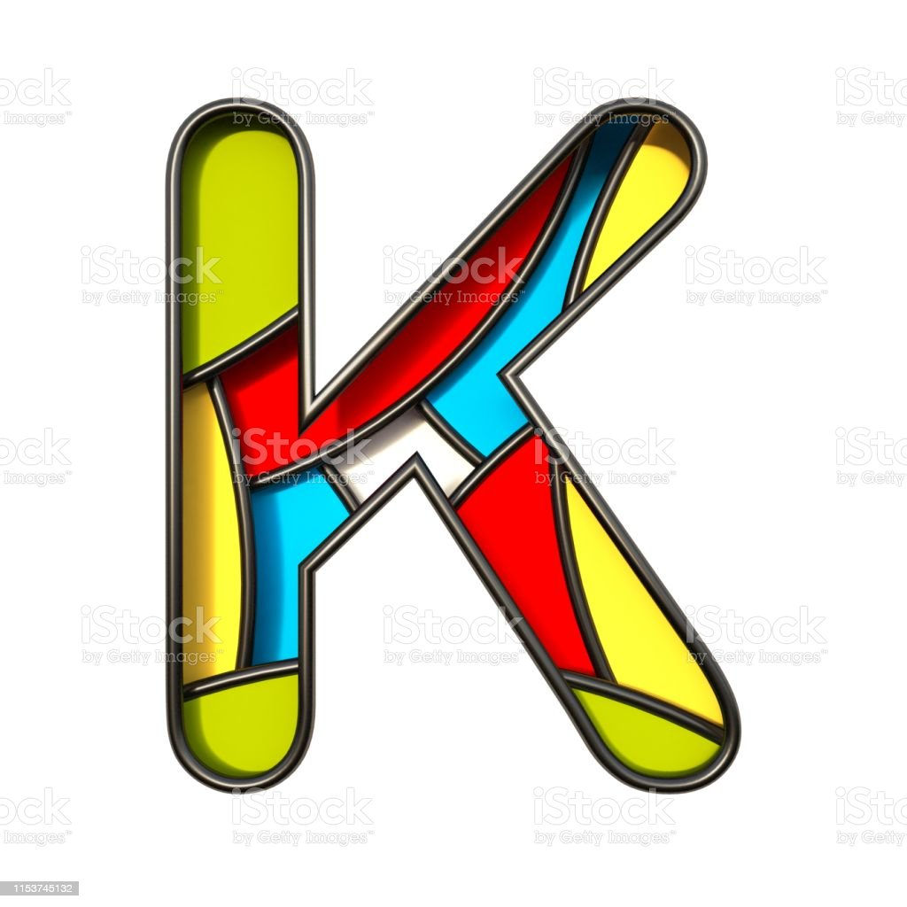 Multi color layers font Letter K 3D rendering illustration isolated...