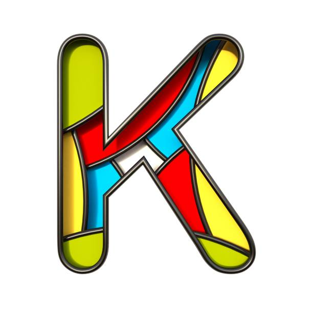 Multi color layers font Letter K 3D Multi color layers font Letter K 3D rendering illustration isolated on white background k logo stock pictures, royalty-free photos & images
