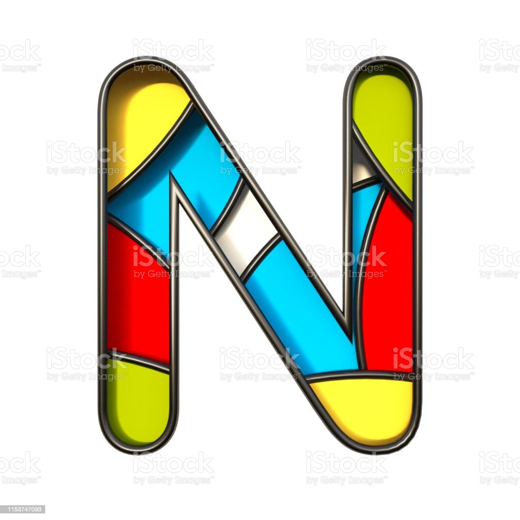 Multi color layers font Letter N 3D rendering illustration isolated...