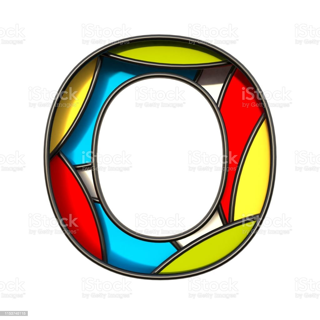 Multi color layers font Letter O 3D rendering illustration isolated...