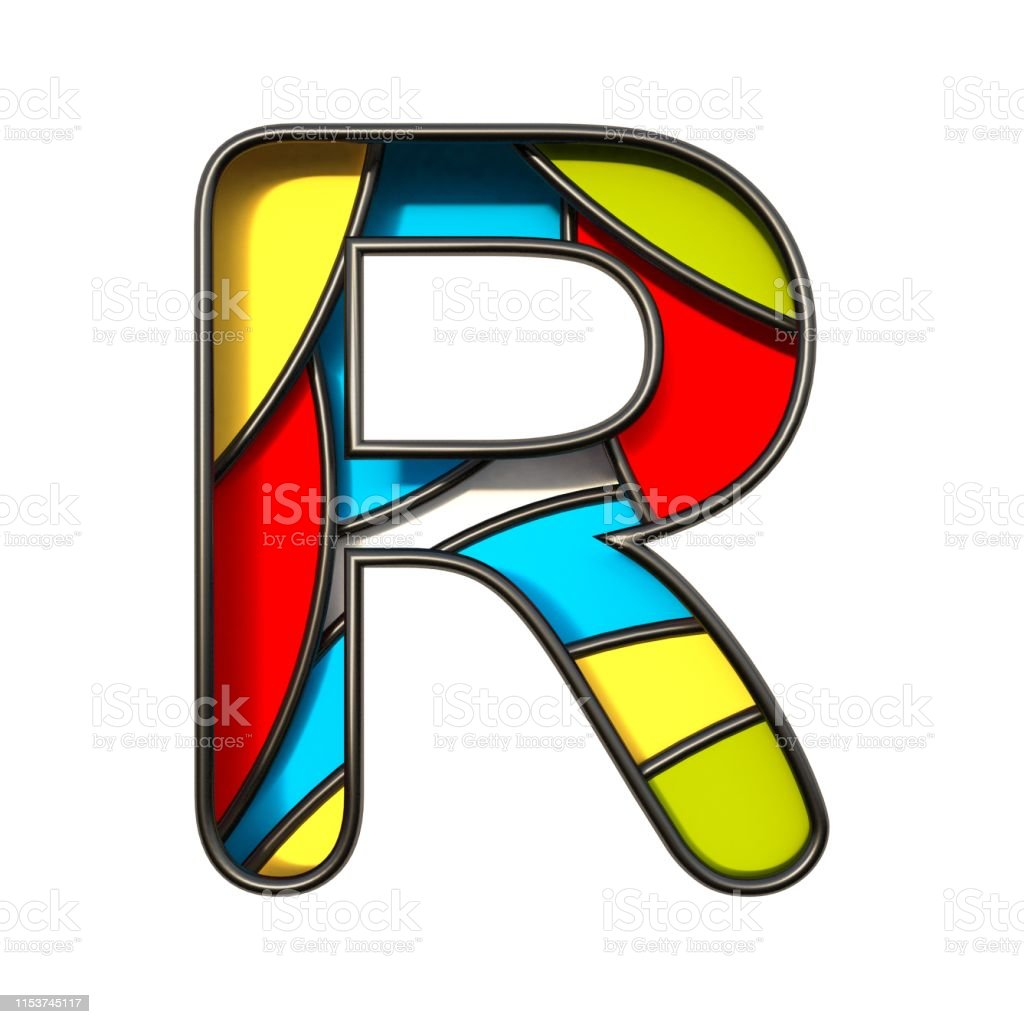 Multi color layers font Letter R 3D rendering illustration isolated...
