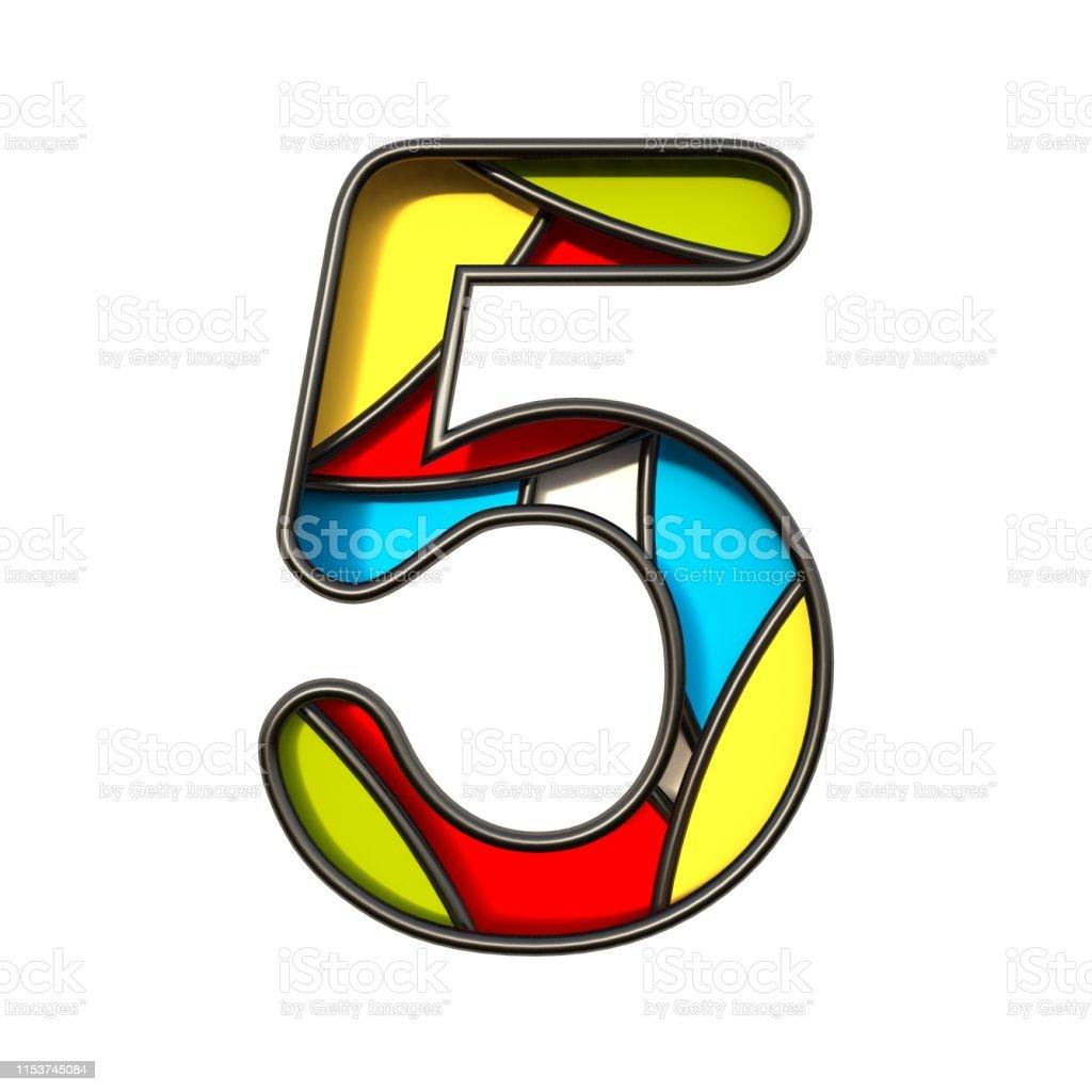 Multi color layers font Number 5 FIVE 3D rendering illustration...