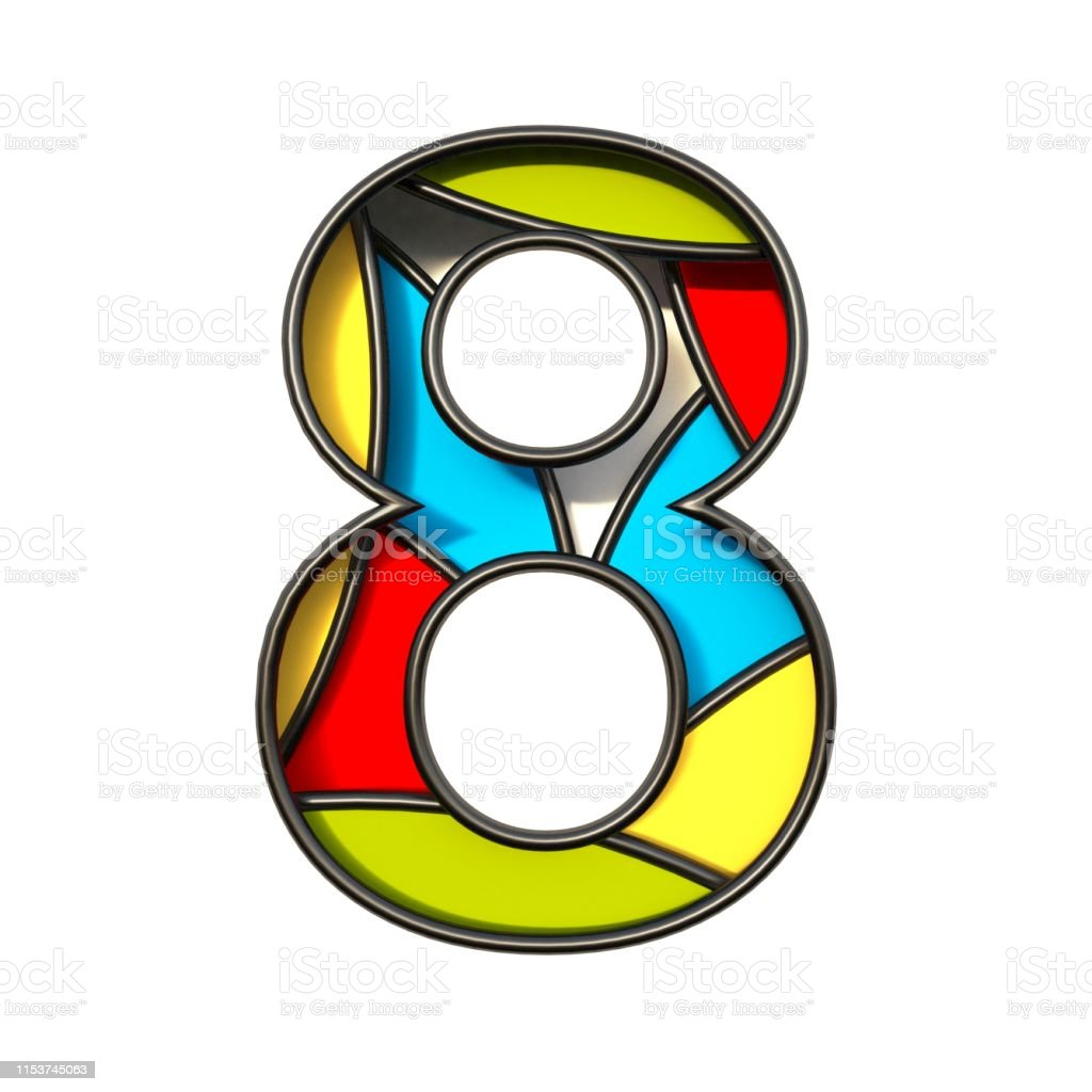 Multi color layers font Number 8 EIGHT 3D rendering illustration...