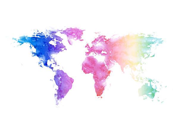 mehrfarbig bemalte world map - landkartenillustrationen stock-fotos und bilder