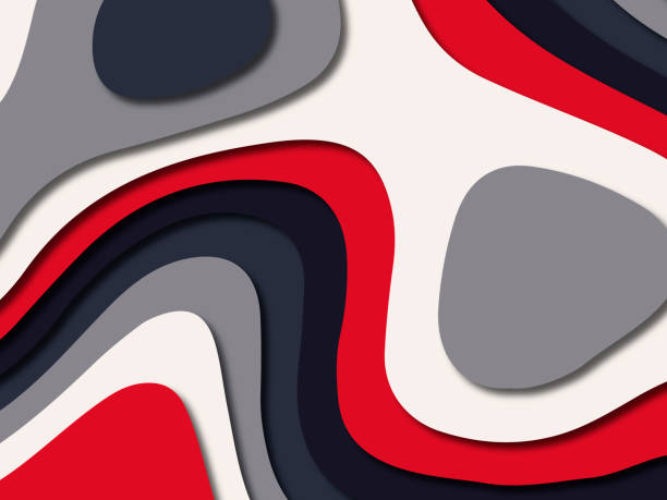 Multi color paper cut progami background with modern blue red white color stock photo