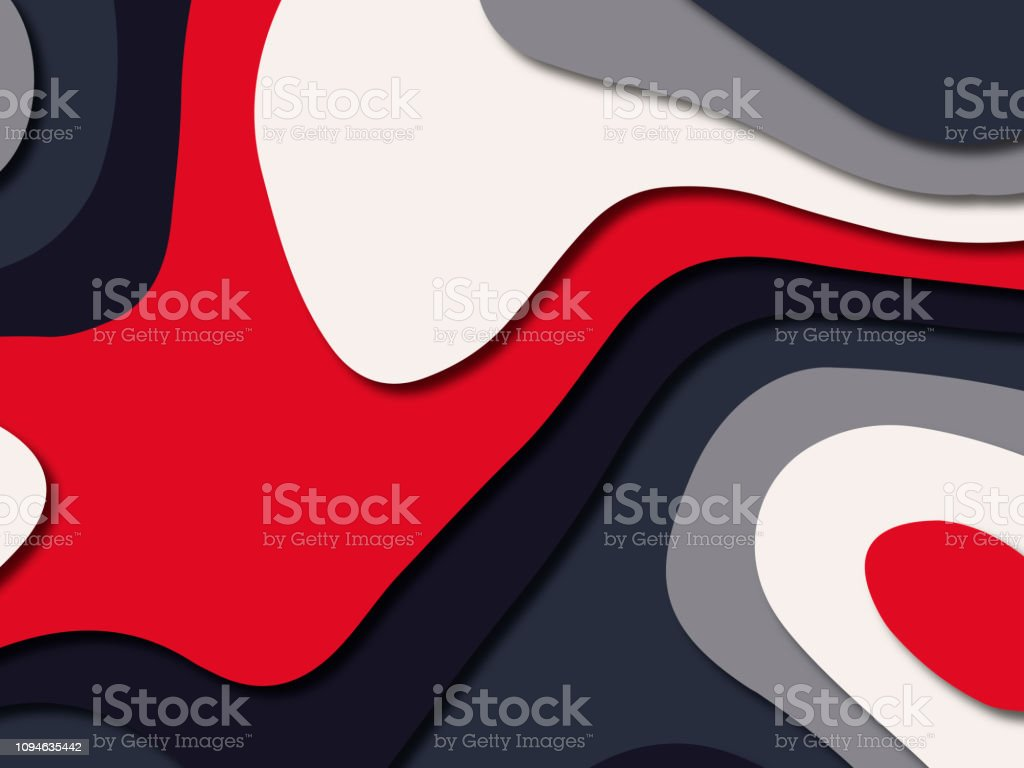 Multi color paper cut progami background with modern white red blue...