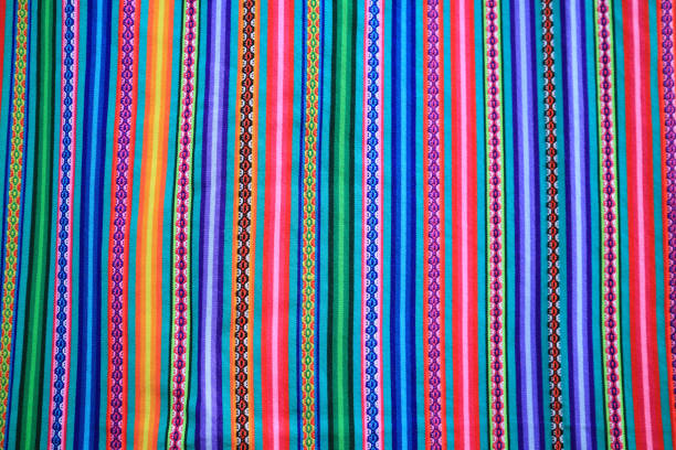 Multi color vivid tone stripe of Peruvian fabric for background, banner or texture Multi color vivid tone stripe of Peruvian fabric for background, banner or texture peruvian culture stock pictures, royalty-free photos & images