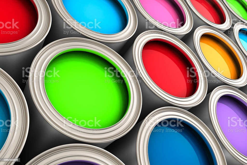 multi colored 3d paint buckets stock photo