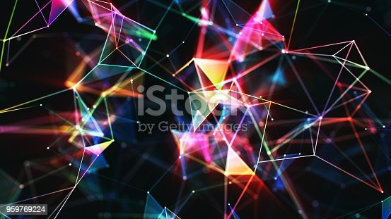 istock Multi colored abstract network background 959769224