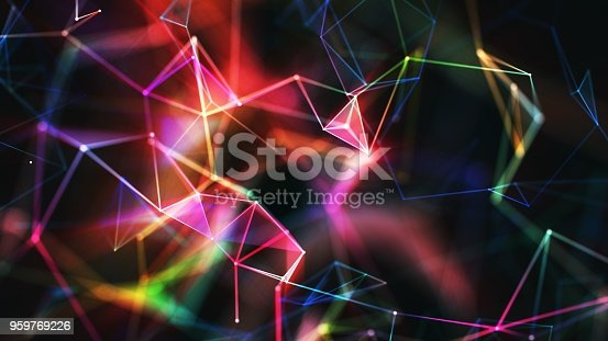 istock Multi colored abstract network background 959769226