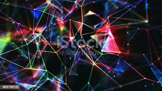 istock Multi colored abstract network background 959769232