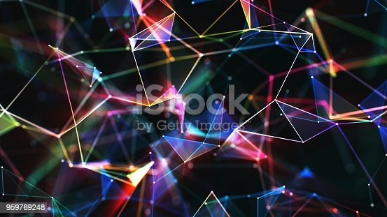 istock Multi colored abstract network background 959769248