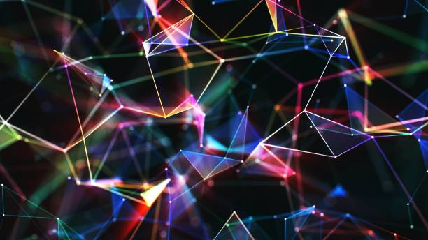 multi colored abstract network background - connections abstract stock pictures, royalty-free photos & images