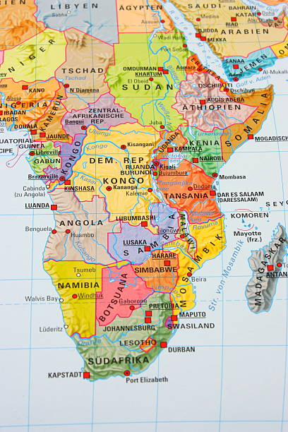 multi colored africa map - horn of africa stock photos and pictures