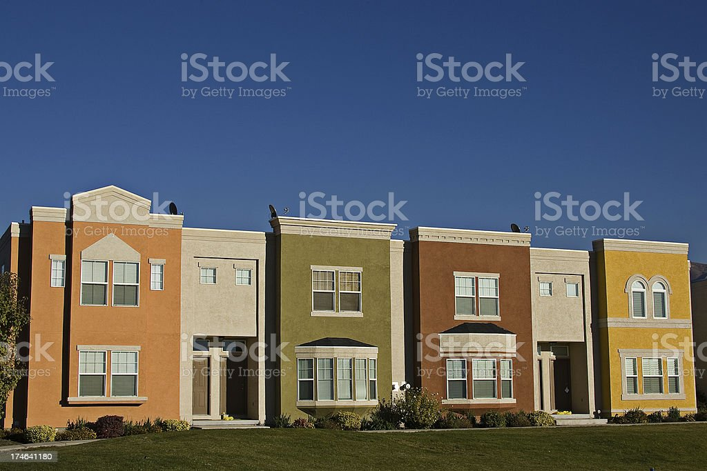 Multi Colored Apartment Flats with copyspace royalty-free stock photo