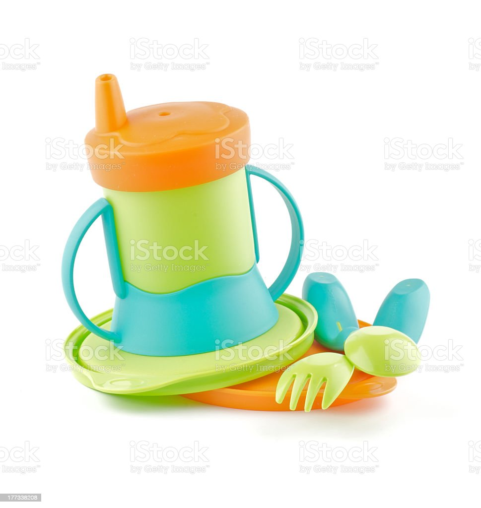 Multi Colored Baby Bottle and utensil royalty-free stock photo