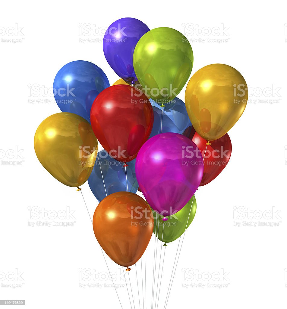 multi colored balloons group isolated on white stock photo
