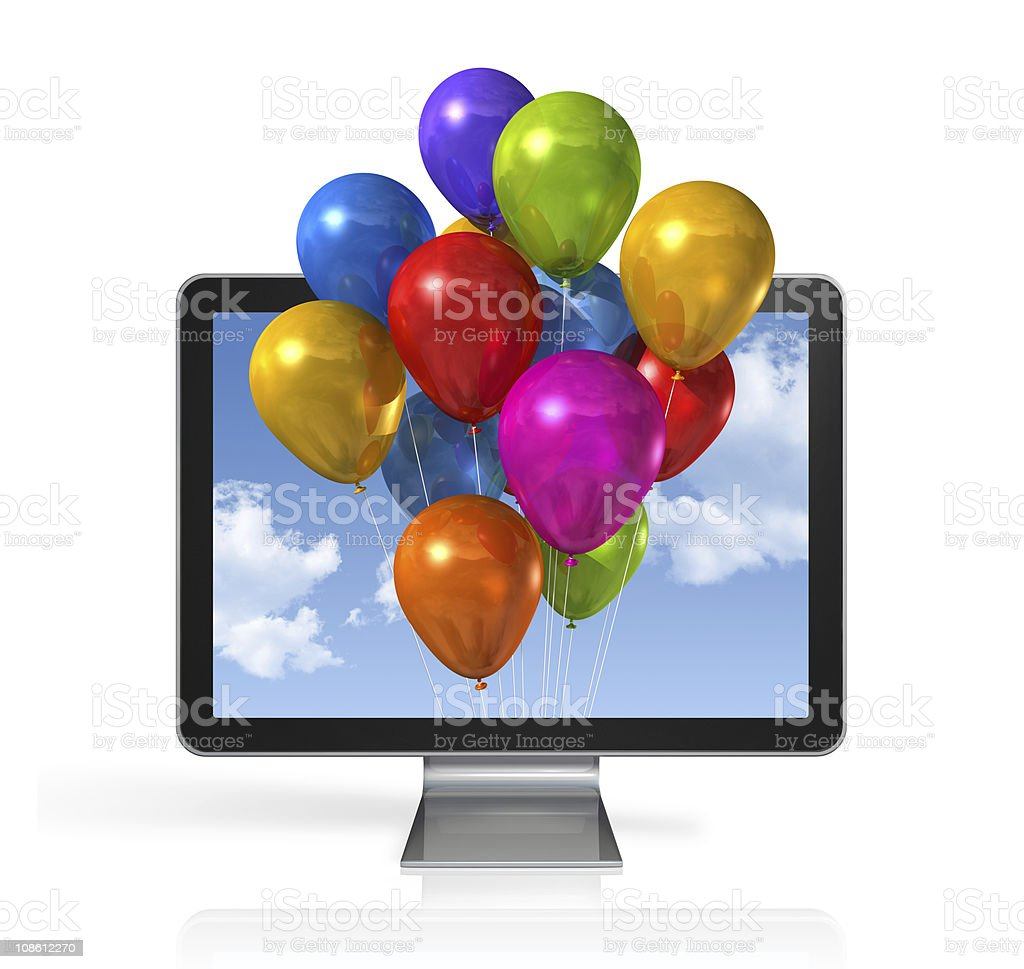 multi colored balloons in a 3D tv screen stock photo