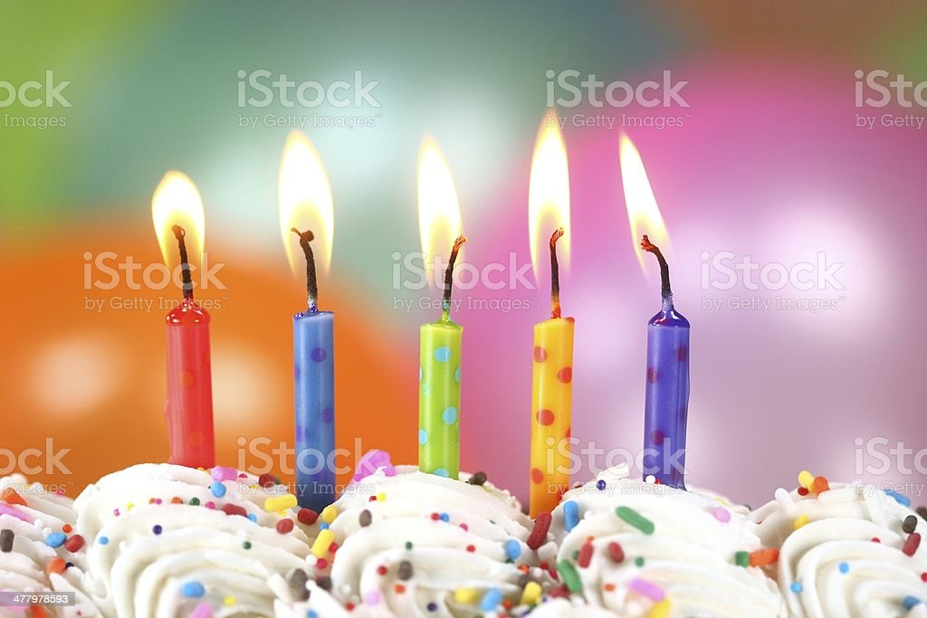 Multi Colored Birthday Celebration With Balloons Candles And Cake