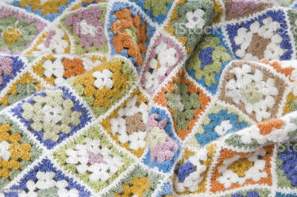 Multi colored blanket in wool royalty-free stock photo