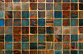 istock Multi Colored Blue Orange Beige Vibrant Mosaic Tile Abstract Background 526826880
