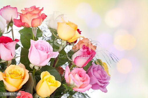 Multi colored bouquet of mother's day, birthday or special occasion roses with a defocused bokeh colorful background