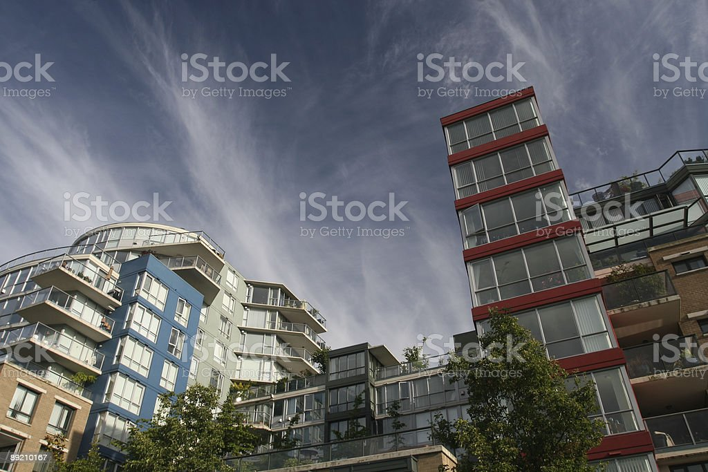 Multi Colored Condominiums royalty-free stock photo