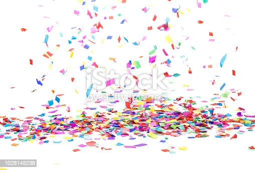 Front view of multi colored paper confetti background heap with falling confetti shot on white backdrop. High key DSRL studio photo taken with Canon EOS 5D Mk II and Canon EF 100mm f/2.8L Macro IS USM.